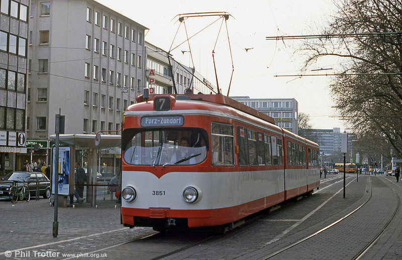 Duewag car 3851 at Neumarkt on 1st April 1991.
