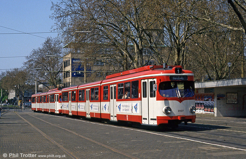 Duewag car 3107 at Neumarkt on 16th April 1994.