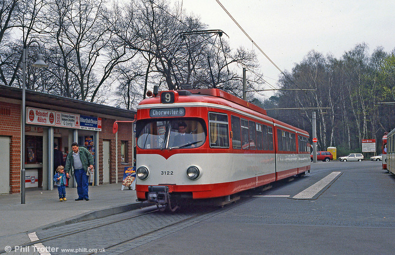 Duewag car 3122 at Konigsforst on 1st April 1991.