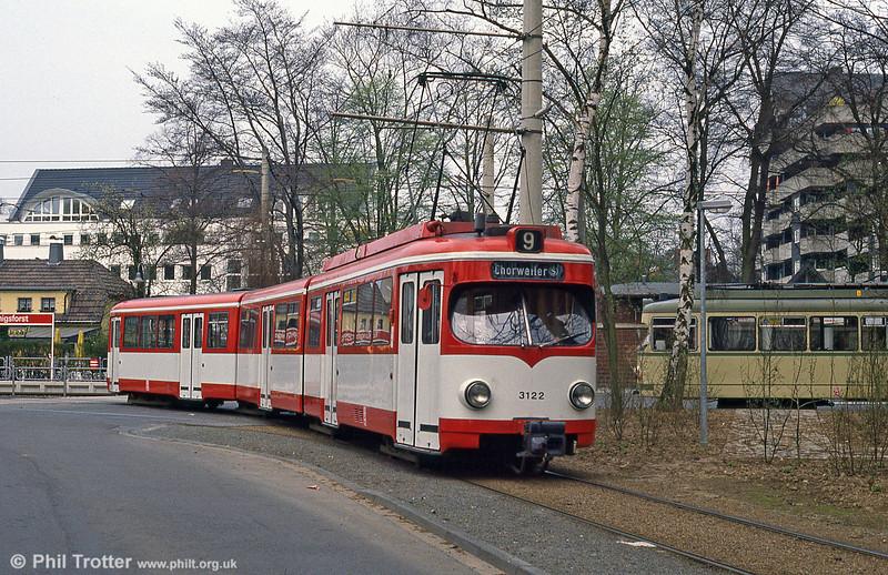 Duewag car 3122 at Konigsforst on 1st April 1991.