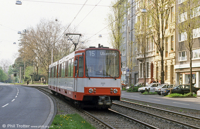 Car 2103 at Chlodwigsplatz on 17th April 1994.