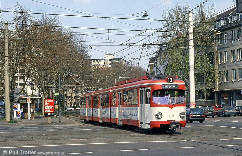 Koln 3128 in Aachner Strasse on 16th April 1994.