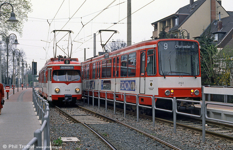 Duewag cars 3122 and 2122 at Konigsforst on 1st April 1991.