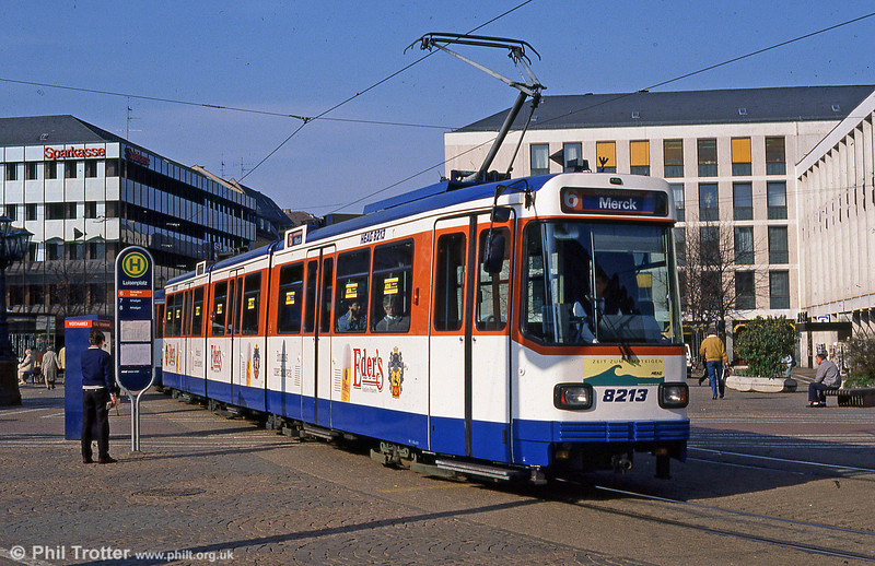 Darmstadt 8213, a 1982-built Waggon Union car at Luisenplatz on 3rd April 1991. (First published in Modern Tramway, 10/91).