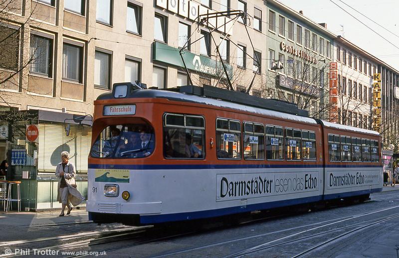 Darmstadt 91 on driver training duty at Luisenplatz on 3rd April 1991.
