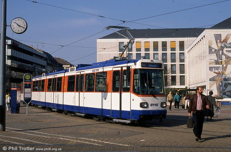 Darmstadt 9116 at Luisenplatz on 3rd April 1991.