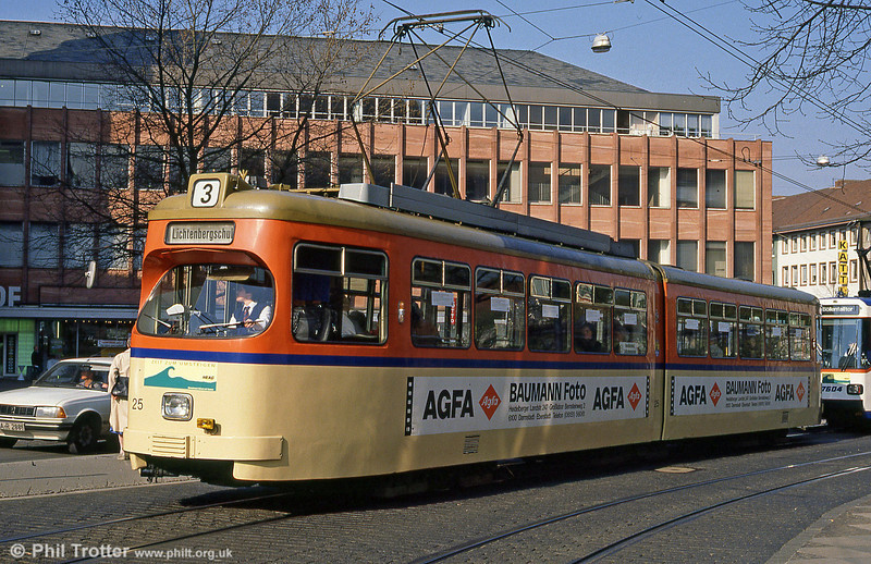 Darmstadt Waggon Union car 25 built in the early 1960s at Luisenplatz on 3rd April 1991.