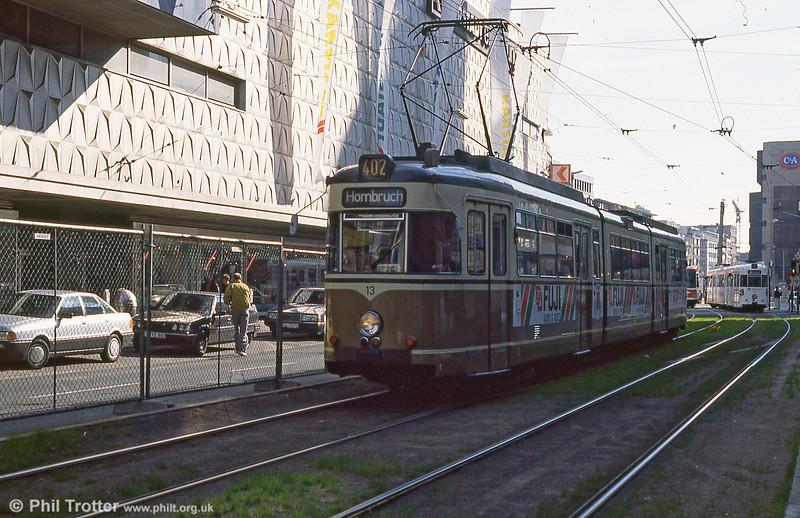 Dortmund Duewag car 13 of 1974 at Kampstrasse on 12th April 1991.