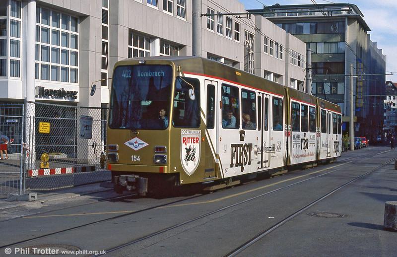 Dortmund Duewag car 154 of 1982 at Kampstrasse on 12th April 1991.