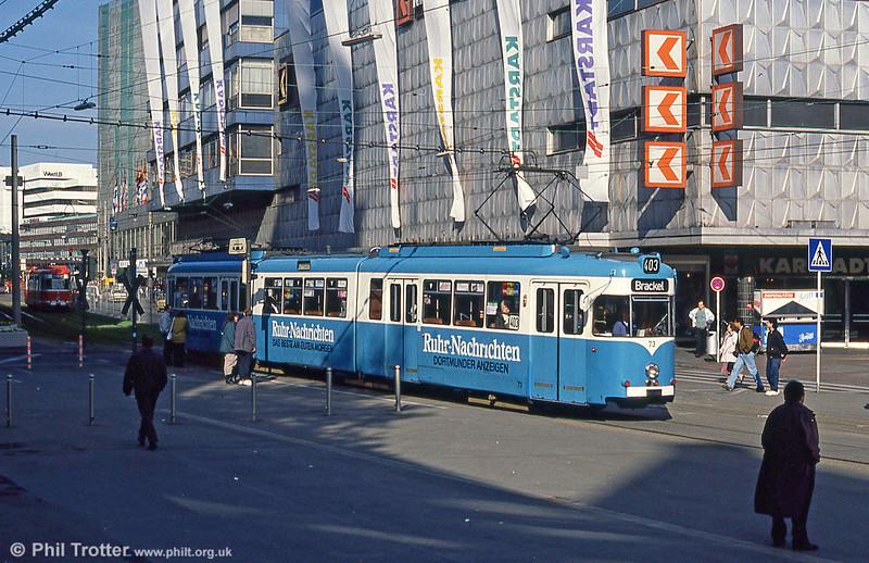 Dortmund Duewag car 73 of 1959 at Kampstrasse on 12th April 1991.