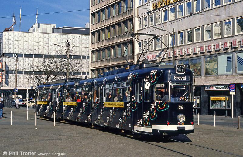 Dortmund Duewag car 34 of 1966 at Kampstrasse on 12th April 1991.