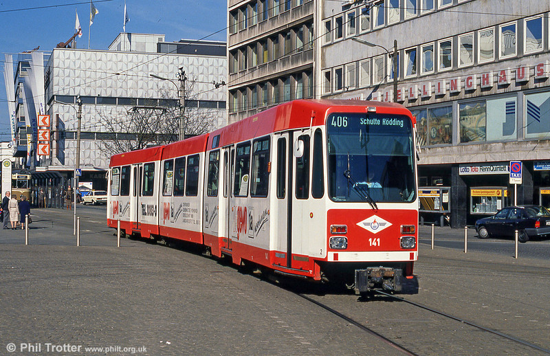 Dortmund Duewag car 141 of 1981 at Kampstrasse on 12th April 1991.