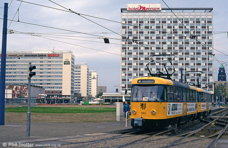 Dresden T4D car 553 at Hauptbahnhof on 18th April 1993. The lack of old buildings in this view is a reminder of the total devastation of Dresden during World War II.