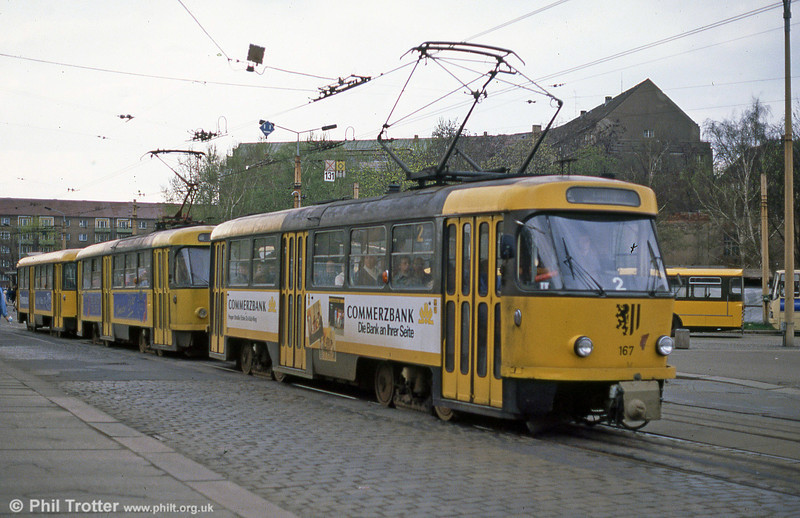 Dresden T4D car 167 at Postplatz on 7th April 1991.
