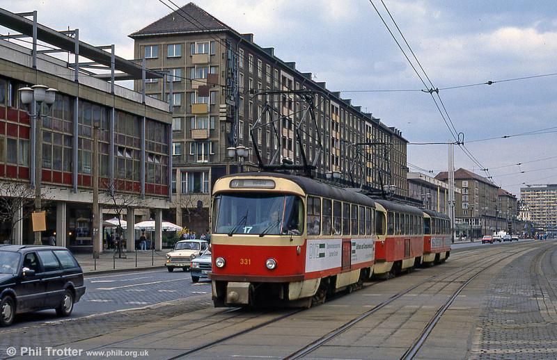 Dresden 331 near Postplatz on 7th April 1991.