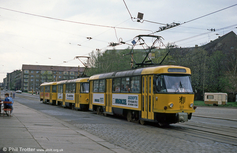 Dresden T4D car 310 at Postplatz on 7th April 1991.
