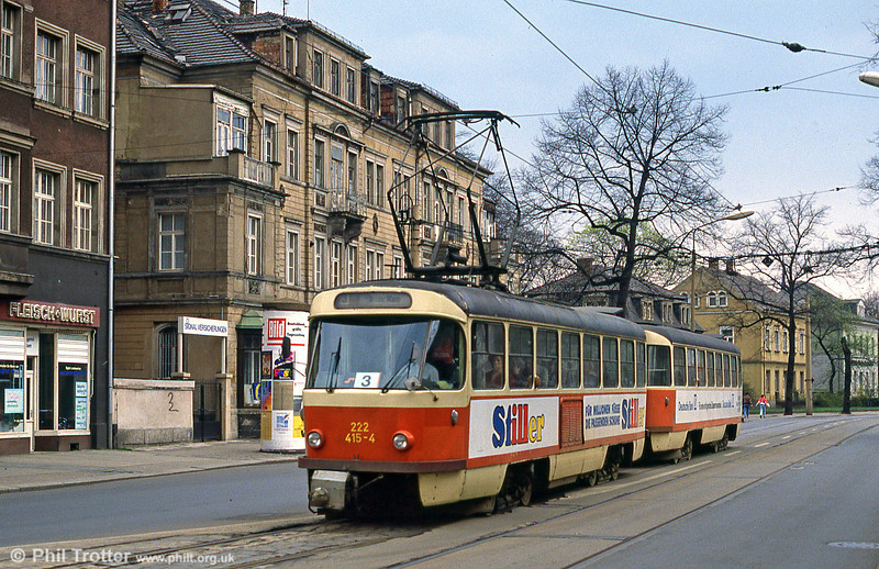 Dresden T4D car 415 at Hauptbahnhof on 7th April 1991.