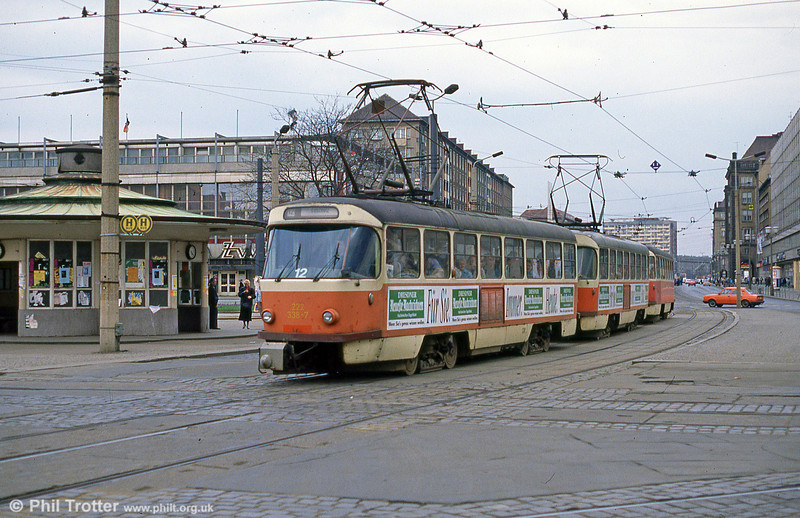 Dresden T4D car 338 at Postplatz on 7th April 1991.