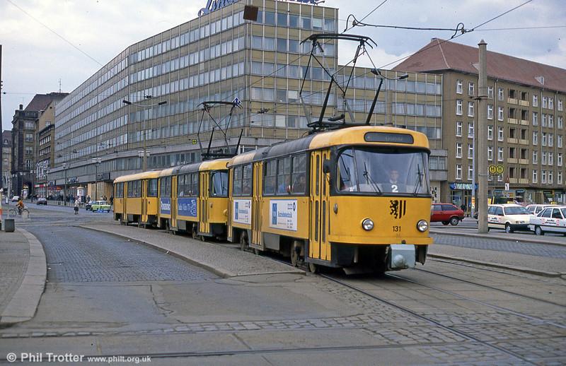 Dresden T4D car 131 at Postplatz on 7th April 1991.
