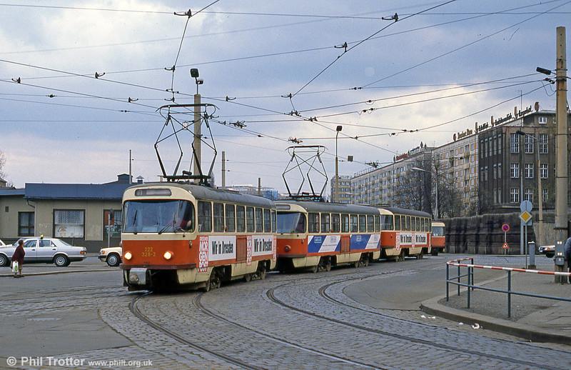 Dresden T4D car 328 at Postplatz on 7th April 1991.