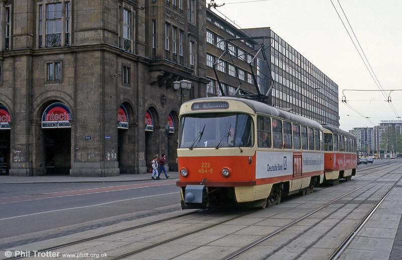 Dresden T4D car 454 at Altmarkt on 18th April 1993.