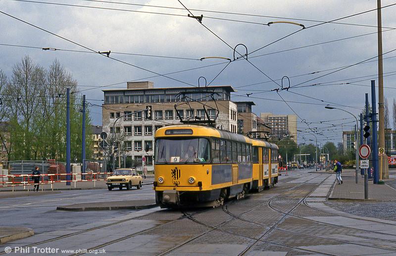 Dresden T4D car 303 at Hauptbahnhof on 18th April 1993.