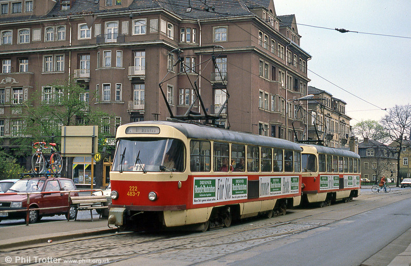 Dresden T4D car 483 at Hauptbahnhof on 7th April 1991.