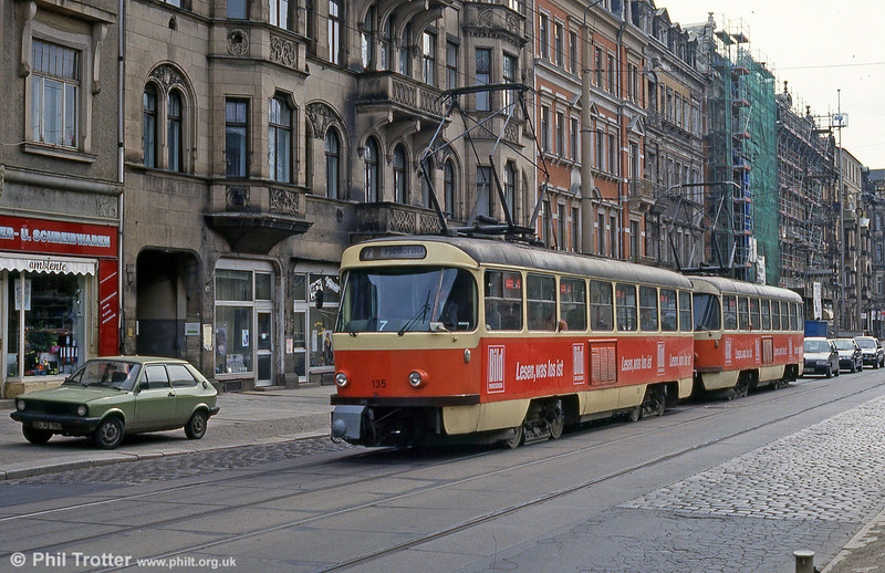 Dresden T4D car 135 at Mickter on 18th April 1993.