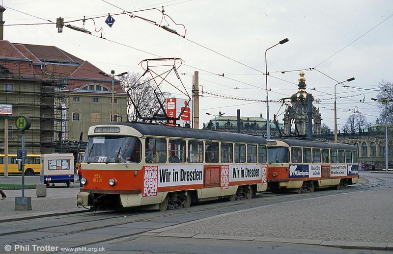 Dresden T4D 812 at Postplatz on 7th April 1991.