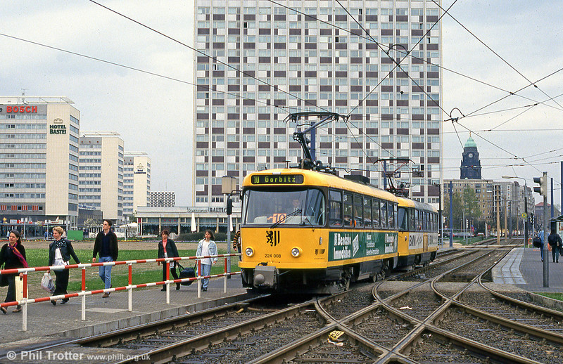 This view, with the almost total lack of pre-war buildings, brings home the scale of the devastation suffered by Dresden in World War II. Dresden modernised T4D car 001 at Hauptbahnhof on 18th April 1993.