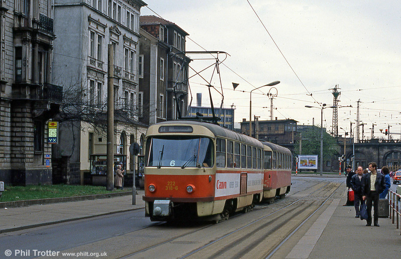 Dresden T4D car 318 at Hauptbahnhof on 7th April 1991.