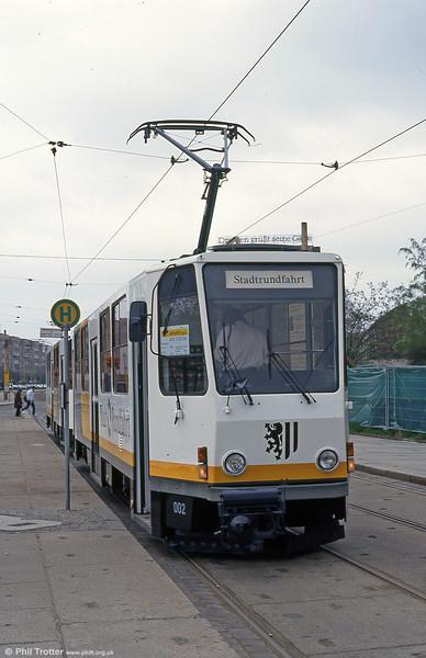Dresden Tatra T6A 002 at Postplatz on 18th April 1993.