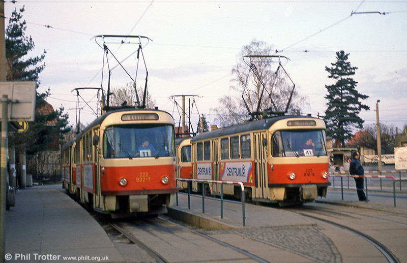 Dresden T4D car 932 and 816 at Buhlau on 7th April 1991.