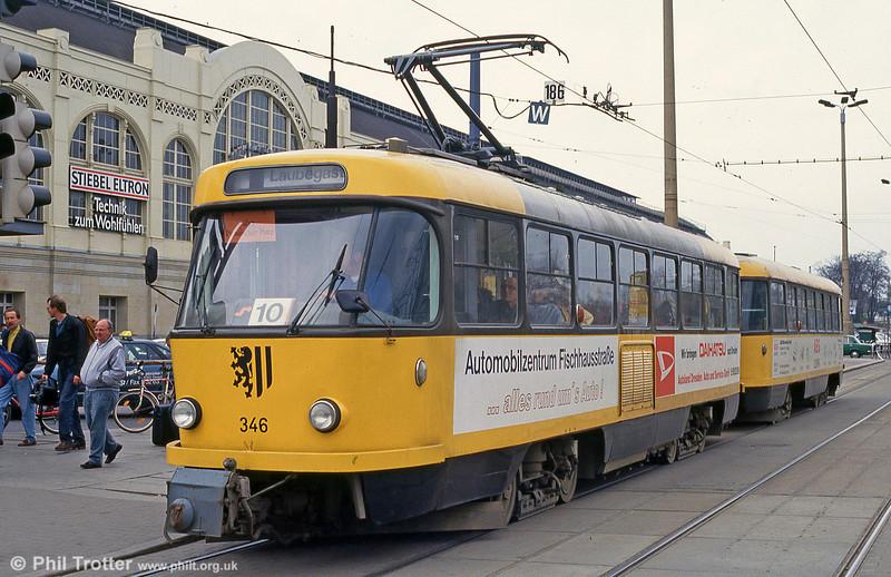 Dresden T4D car 346 at Hauptbahnhof on 18th April 1993.