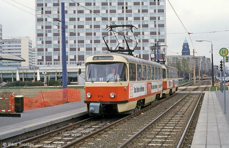 Dresden T4D car 814 at Hauptbahnhof on 18th April 1993.
