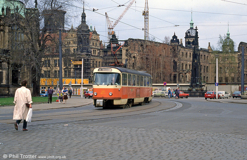 Dresden T4D 821 at Postplatz on 7th April 1991.