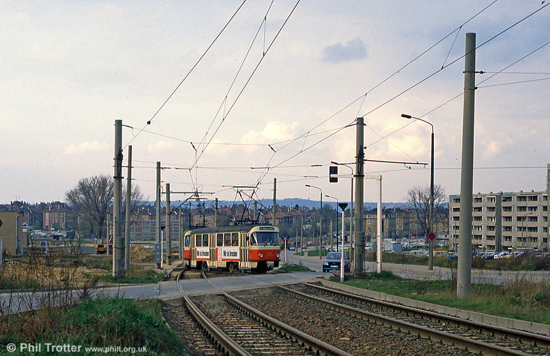 A Dresden T4D car  on a suburban route on 7th April 1991.