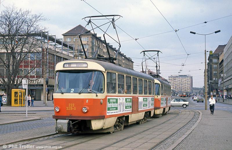 Dresden T4D 329 at Postplatz on 7th April 1991.