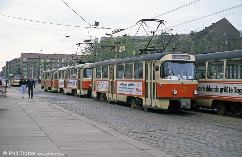 Dresden T4D car 830 at Postplatz on 7th April 1991.