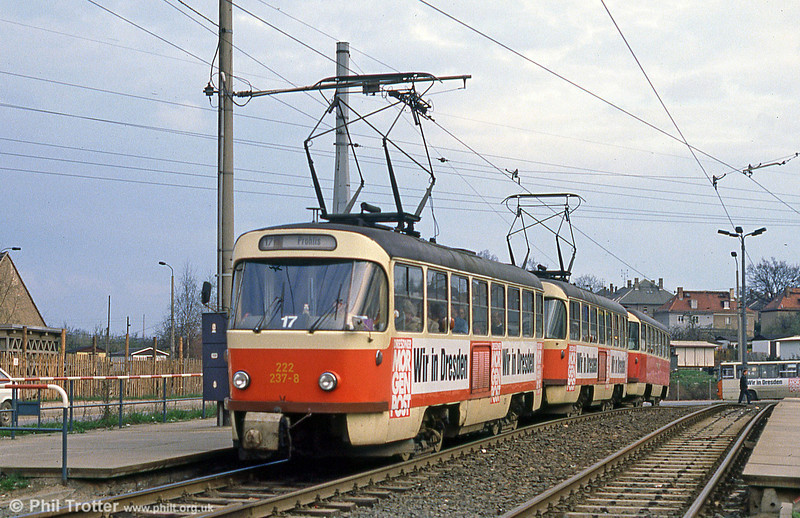 Dresden T4D car 237 on an outer suburban route on 7th April 1991.