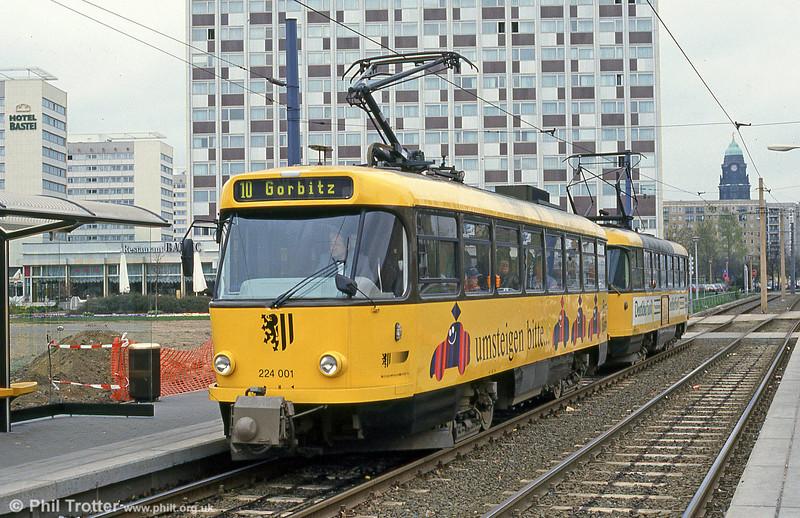 Dresden modernised T4D car 001 at Hauptbahnhof on 18th April 1993.