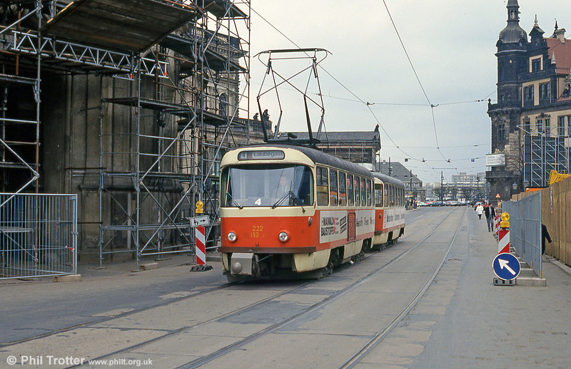 Dresden T4D car 110 at Postplatz on 18th April 1993.