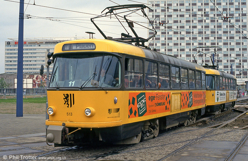 Dresden reliveried Tatra T3 no. 513 near the Hbf. on 18th April 1993.