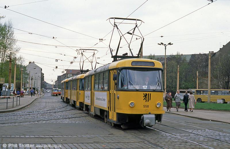 Dresden T4D car 558 at Postplatz on 7th April 1991.