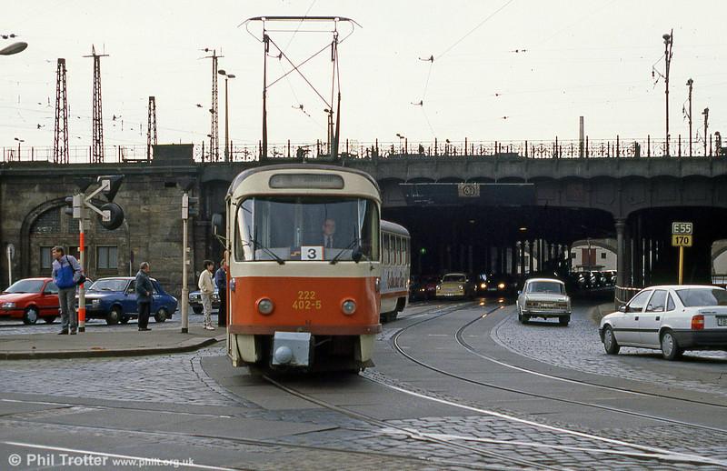 Dresden T4D car 402 at Hauptbahnhof on 7th April 1991.
