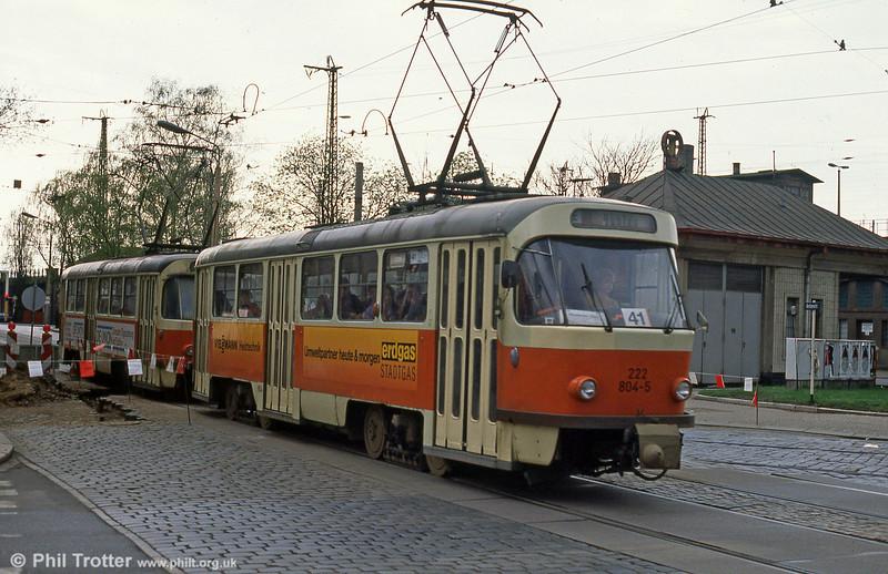 Dresden T4D car 804 at Hauptbahnhof on 7th April 1991.