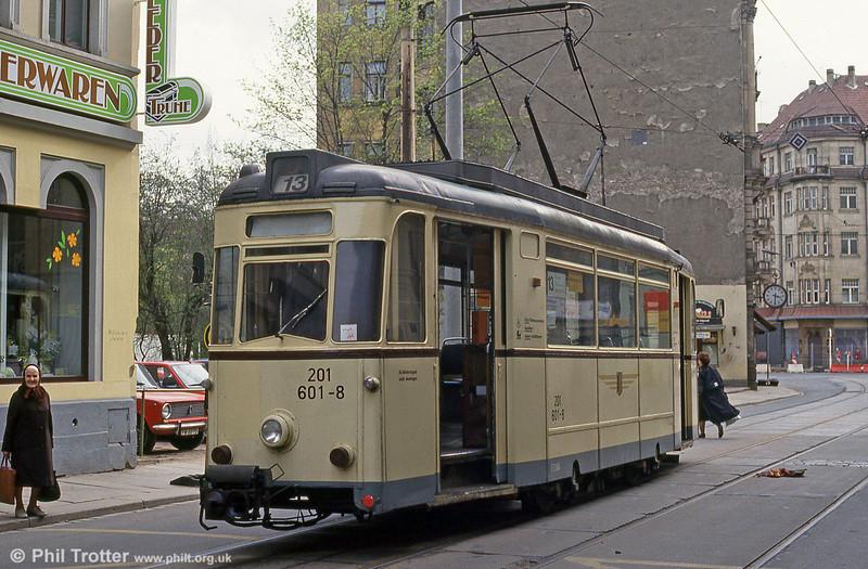 Dresden Gotha car 601 at Rothenburger Straße on 18th April 1993.