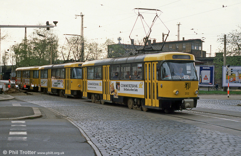 Dresden T4D car 202 at Hauptbahnhof on 7th April 1991.