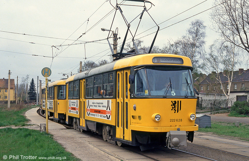 Dresden T4D car 628 at Radebeul West on 18th April 1993.