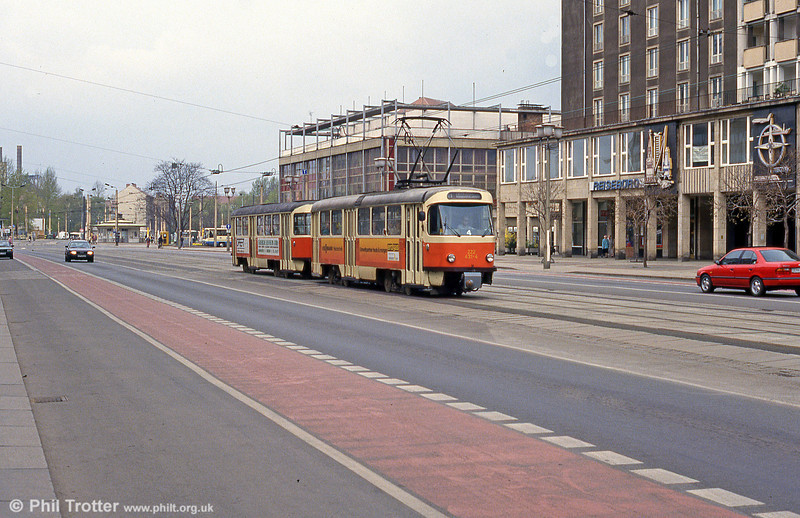 Dresden T4D car 439 near Postplatz on 18th April 1993.